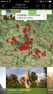 Štítky na mapě zobrazují místa, kde byly vyfoceny fotografie v průvodci - snažil jsem se o kompletní pokrytí celého území Českého ráje.